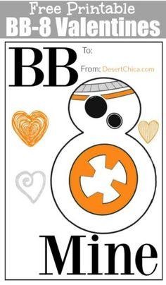 Free Printable BB8 Star Wars Valentines Cards