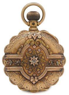 """""""Elgin Ladies 14K Gold Cased Pocket Watch - American, c1891"""""""