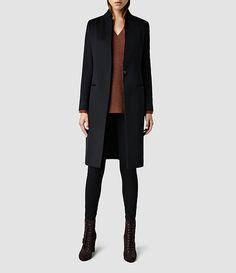 Women's Eryn Coat (Black). All Saints. Tailored coat. Navy coat.