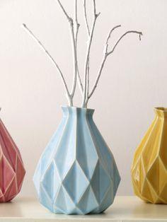 Geometric vase, Light blue ceramic, Origami modern design, Contemporary style Home decor