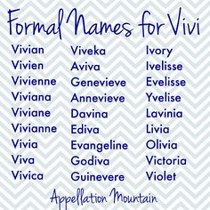 Love Vivi But Looking For A Formal Name This List Is You