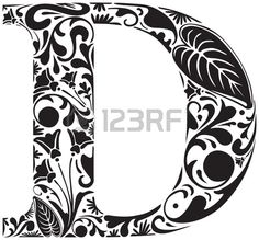 Floral initial capital letter D Stock Vector