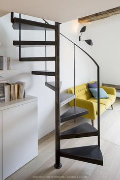 Paris dove nest house stairs, spiral staircase и new s Loft Staircase, House Stairs, Spiral Staircase, Small Space Staircase, Staircase Ideas, Spiral Stairs Design, Staircase Design, Small Space Living, Small Spaces