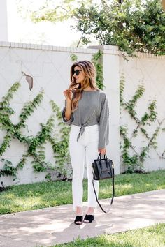 Black and white gingham blouse+white cropped pants+black mules+black handbg+sunglasses. Spring Casual Outfit 2017
