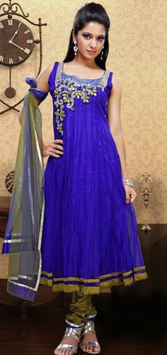 $135.75 Blue Sleeveless Net Long Anarkali Salwar Kameez 21430: subtle moss green sets off cobalt blue anarkali, an elegant, vibrant combo!