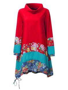 Gracila Vintage Women Floral Printed Turtleneck Long Sleeve Patchwork Dress