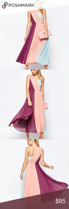 ASOS NEW DRESS !!!! Beautiful Multi color dress, one shoulder brand new !!! Asos Dresses Midi