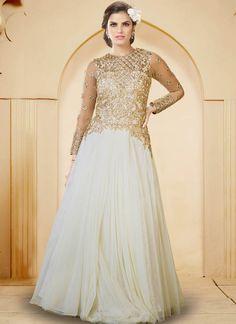 Off-White Net  Indowestern Gown With Zari Work
