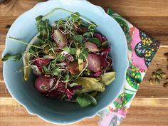 Salad of Pea Shoots & Microgreens with Roasted Radishes