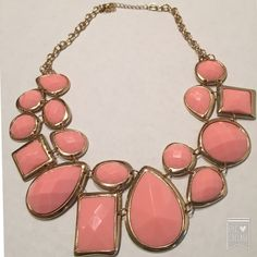 """Dark peach colored statement necklace Beautiful addition to any wardrobe. Dark peach with gold tones. Worn once. Excellent condition. Measures 22"""" Jewelry Necklaces"""
