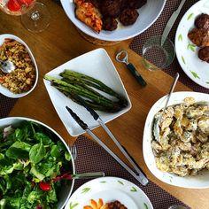 Selfmade BBQ: tasty potato salad, asparagus, turkish köfte ... #foodprint