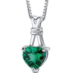 Gemstone: Lab Created Emerald, 1 piece, Heart Shape, Checkerboard Cut, 9.00mm.Gemstone has a vibrant rich color and eye clean clarity. Pendant is in Sterling Silver Rhodium Finish with .925 stamp and measures 3/4 x 3/8 inches and weighs 1.80 grams. Pendant features top quality workmanship and a beautiful finish. Includes Free 18 inch Sterling Silver Rhodium Finish Box Style Chain, Free Gift Box. Style sp10738