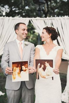 Love this idea for a wedding pose — holding photos of their parents' weddings.