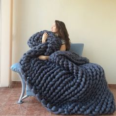 Large Super Chunky Blanket Merino Wool Wool by WowKnitAndCo