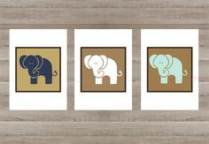 Elephant 3 Art Prints Set Bedroom Kitchen Living Room Children Interior Printing for Wall Home Decor In Blue Brown Beige Pattern Animal Set