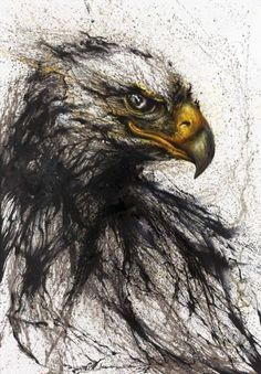 Ink painting about eagle by Hua Tunan. His work is a successful experiment, combining graffiti styles with traditional Chinese art and elements such as ink, drum rhythms and a variety of cultural symbols. Chinese Painting, Chinese Art, Chinese Style, Art Triste, Art Chinois, Ink Splatter, Illustration Art, Illustrations, Illustration Pictures