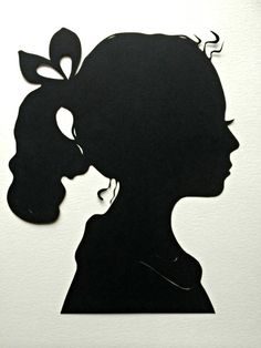 Two Personalized & Custom Hand Cut Silhouette Portraits Backing on 8� x 10�