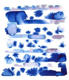 abstract watercolor painting print vivid blue by Kelly Witmer