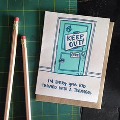 I'm Sorry Your Kid Turned Into A Teenager Greeting Card Deepest Sympathy, Im Sorry, Paper Envelopes, Letterpress Printing, Kraft Paper, Kids Cards, Encouragement, Greeting Cards, Invitations