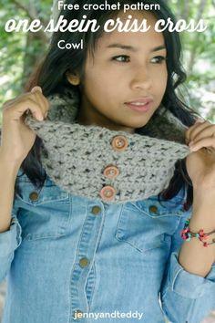 1 skein criss cross cowl free crochet pattern by jennyandteddy
