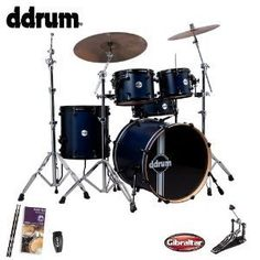 ddrum JFREFLEXRSL5PCBLSKIT1 Reflex RSL 5Piece with Bass Drum Pedal Drum Set Survival Guide Shaker and Drumsticks  Blue Satin * Visit the image link more details. Note:It is affiliate link to Amazon.