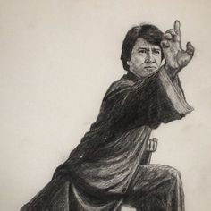 Jackie Chan - The drunken master A4 - Pencil on paper - by Bernd Fürlinger. My tribute to Jackie Chan - my all time favourite super hero! #jackiechan #martialarts #pencil #paper #portrait #art #drawing #illustration