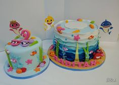 Baby shark (fish bowl will separate tiers at venue) Shark Fish, Baby Shark, Starfish Cake, Shark Cake, Seaweed, Sharks, Separate, Birthday Cakes, Desserts