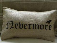 Halloween crow raven edgar allan poe burlap pillow by samantha2818.  Love this