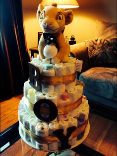 Lion King themed diaper cake for a boy