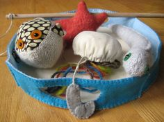 wool sweater and vintage fabric fishing game