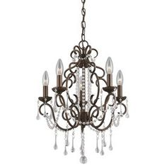 5-Light Dark Bronze Crystal Accent Chandelier $129 @ Lowes. For above bathtub and possibly island and kitchen nook and girls bathroom.