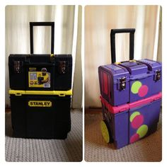 Rolling face painting kit before and after - rolling tool case and spray paint purchased at Home Depot for about $50. Press 'n Seal plastic wrap and painters tape were a huge help.