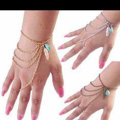 Finger bracelet Leaf and turquoise designed bracelet ...gold tone BOHO Boutique Jewelry Bracelets