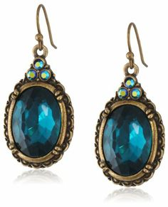 1928 Jewelry Victorian Peacock Turquoise Colored Gem Earrings: Jewelry
