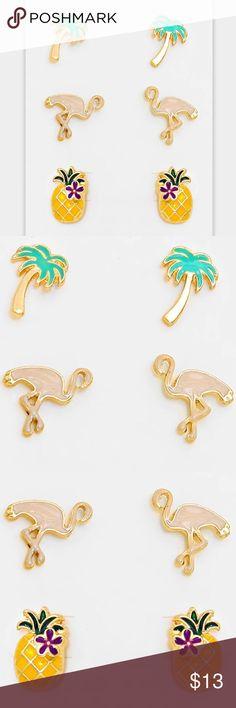 "3 Pair Stud Earring Set • Theme : Animal, Fruits/Food  • Size : 0.3"" W, 0.5"" L  • Post Back • 3 Pairs - Enamel Flamingo & Pineapple Stud Earrings Jewelry Earrings"