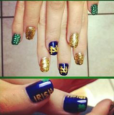 notre dame nail art | March Madness Manicures: Nail Art to Help You Cheer On Your Team ...