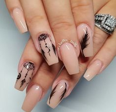 Feather nail art is maybe the most effective alternative that you simply will create. However, there is also times that you simply feel as if making feather nail art is just too. Feather Nail Designs, Feather Nail Art, Acrylic Nail Designs, Nail Art Designs, Love Nails, Pretty Nails, Style Nails, Dream Catcher Nails, Nagellack Design