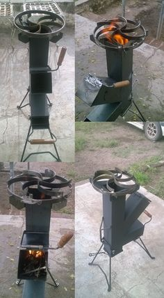 Discover thousands of images about cocina cohete/rocket stove-para disco arado- chapa bifera Wood Gas Stove, Wood Burner, Rocket Heater, Rocket Stoves, Metal Projects, Welding Projects, Rocket Stove Design, Parrilla Exterior, Stove Heater