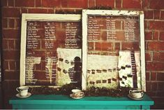 Seating lists... on upcycled windows
