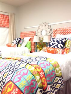 College dorm room decor and bedding. Mississippi state university. That looks familiar @Katie Hrubec Hrubec Qualls