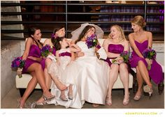 Bridesmaids Candid Fun Photo and Bright Purple Dresses