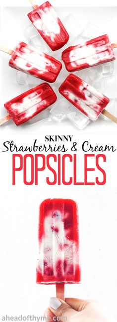 It is time to say good-bye to the store-bought stuff and make skinny strawberries and cream popsicles at home using fresh fruit and Greek yogurt! | aheadofthyme.com via @aheadofthyme