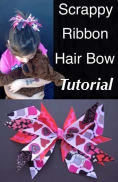 Scrappy Ribbon Hair Bow Tutorial- no bow folding skills required! Top your little girls Easter basket with this easy bow, then she can wear it all year! LOOK FOR RIBBONS N TULLE BOARD! Ribbon Hair Bows, Diy Hair Bows, Diy Bow, Bow Hair Clips, Hair Ties, Homemade Hair Bows, How To Make Hair, How To Make Bows, Baby Band