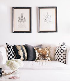 Love these pillows... I'd spread them out amongst other furniture pieces otherwise there is no where to sit, but I love how they work together but aren't matchy-matchy
