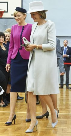 First Lady Agata Kornhauser-Duda (L) and Queen Mathilde of Belgium visit Wolfgang Goethe college as part of official Royal visit in Poland on October 14, 2015 in Warsaw, Poland.