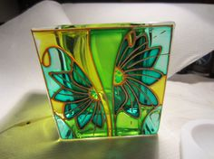 Hand Painted Glass Candle Holder by ASplashofColour1