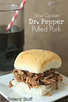 Slow Cooker Dr. Pepper Pulled Pork Recipe on MyRecipeMagic.com. Super Moist pork! #sixsistersstuff