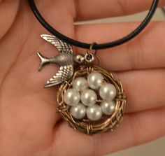 Handmade jewelry bird nest necklace mother gift by TheFullNest, $12.38