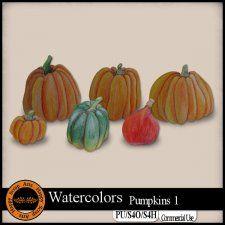 EXCLUSIVE Watercolors Pumkins 1 Elements by Happy Scrap Arts #CUdigitals cudigitals.com cu commercial digital scrap #digiscrap scrapbook graphics