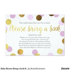 Baby Shower Bring a book Purple Gold Glitter Girl Card